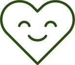 Smiling heart graphic.